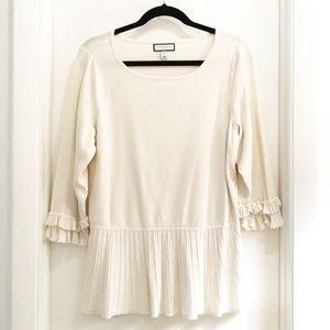 Charter Club Ruffled Sweater Cream Size 2X